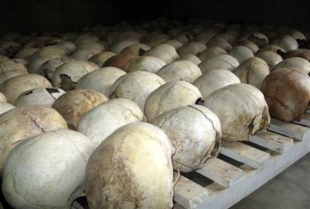 Skulls of people killed during Rwanda's 1994 genocide lie in Murambi genocide memorial as the country marks the 13th anniversary of the killings April 7, 2007. REUTERS/Arthur Asiimwe