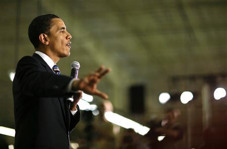 Democratic presidential candidate Senator Barack Obama (D-IL) speaks at the Thorngate Limited garment factory in Cape Girardeau, Missouri, on the night of the West Virginia presidential primary, May 13, 2008. REUTERS/John Gress