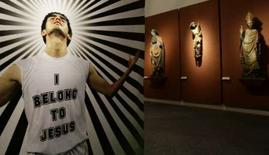 """<p>Une photo du t-shirt porté sous le maillot avec l'inscription """"I belong to Jesus"""" (J'appartiens à Jésus) de Kaka du Milan AC. A moins d'un mois de l'Euro de football qui se disputera en Autriche et en Suisse, le musée de la cathédrale de Vienne, datant du XIVe siècle, présente une exposition sur tout ce que le football doit à la religion, avec force trophées, écharpes, calices et icônes orthodoxes. /Photo prise le 21 mai 2008/REUTERS/Leonhard Foeger</p>"""