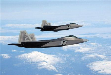 Two F-22 Raptors during a training mission over Alaska, May 8, 2008. REUTERS/U.S. Air Force/Tech. Sgt. Mikal Canfield/Handout