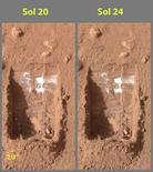 <p>Tracce di ghiaccio su Marte ripresa dalla NASA. REUTERS/ NASA/JPL-Caltech/University of Arizona/Texas A&M University/Handout</p>