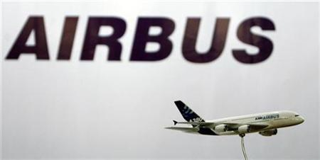 A miniature replica of Airbus A380 is seen in front of Airbus logo during a news conference in Mumbai, May 9, 2007. REUTERS/Arko Datta