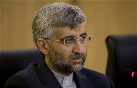 Iranian chief nuclear negotiator Saeed Jalili attends an official meeting with India's national security adviser M. K. Narayanan in Tehran July 1, 2008. REUTERS/Morteza Nikoubazl