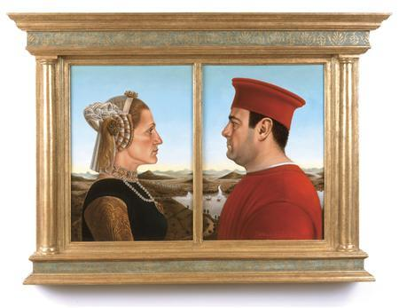 A painting of the lead actors in the hit television series ''The Sopranos'' in the pose of the Duke and Duchess of Urbino painted by Federico Castelluccio is seen in this undated handout photo released July 18, 2008. Actors James Gandolfini and Edie Falco, who played Tony and Carmela Soprano in the HBO series that ran from 1999 to 2007, stare at each other in profile just as the Duke and Duchess of Urbino do in Piero della Francesca's 15th Century original which has sold for $175,000. It was painted by Sopranos supporting actor Federico Castelluccio, who played the Italian hit man Furio Giunta who fell in love with Carmela, the mob boss' wife. REUTERS/Handout
