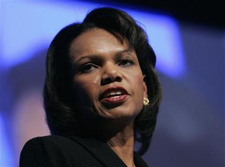 Secretary of State Condoleezza Rice delivers her opening speech at the World Economic Forum (WEF) in the Swiss Alpine resort town of Davos January 23, 2008. REUTERS/Stefan Wermuth