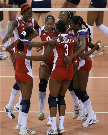 Cubas Players Celebrate Their Win Against The US In Womens Preliminary Pool A Volleyball Match At Beijing 2008 Olympic Games August 11