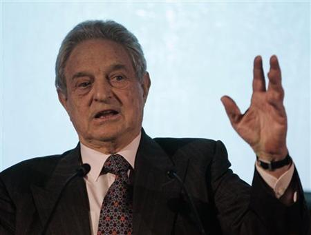 George Soros, founder of the Open Society Institute, delivers his keynote address at the InterAction 2007 forum in Washington, April 18, 2007. REUTERS/Jason Reed