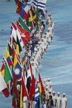 <p>Un'immagine della cerimonia di chiusura dei Giochi olimpici di Pechino. REUTERS/Yves Herman</p>