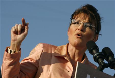 Republican vice-presidential candidate Alaska Governor Sarah Palin campaigns in Washington, Pennsylvania August 30, 2008. REUTERS/John Gress