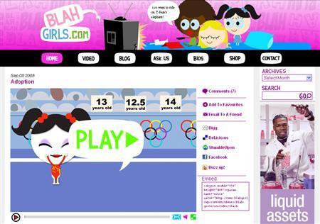 A screenshot of BlahGirls.com, taken on September 9, 2008. REUTERS/www.blahgirls.com