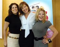 "<p>The stars of ""9 to 5: The Musical"" (L-R) Stephanie J. Block, Allison Janney and Megan Hilty are pictured at a news conference promoting the musical in Los Angeles September 18, 2008. REUTERS/Fred Prouser</p>"