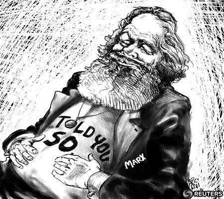 Capitalism as we used to know it is on its deathbed. And those who predicted that the old brand, the unfettered, American-promoted system, was a danger to the world, are being vindicated. They include Karl Marx, whose thinking on banks seems oddly contemporary these days.   REUTERS/Graphics/Brice Hall