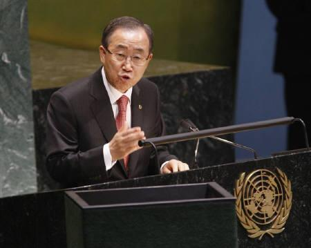 U.N. Secretary General Ban Ki-moon speaks during the United Nations General Assembly, at the U.N. Headquarters in New York in this September 22, 2008 file photo. REUTERS/Chip East