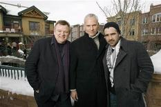 """<p>Director of the movie """"In Bruges"""" Martin McDonagh (C) poses with cast members Colin Farrell (R) and Brendan Gleeson during the 2008 Sundance Film Festival in Park City, Utah in this January 18, 2008 file photo. REUTERS/Mario Anzuoni</p>"""