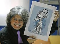 <p>El caricaturista libanés Stavro Jabra junto a uno de sus dibujos del presidente electo estadounidense, Barack Obama, en Beirut, 5 nov 2008. ¿Será el humor político más fácil o más difícil durante el gobierno de Barack Obama? Aquella pregunta dominó la conversación entre un panel de expertos la noche del miércoles. REUTERS/Jamal Saidi</p>
