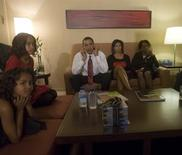 <p>U.S. President-elect Barack Obama, wife Michelle and Obama's mother-in-law Marian Robinson (R), watch election results with daughters, Sasha (L) and Malia on election night in Chicago, Illinois, November 4, 2008 in this photo released by Barack Obama's campaign November 10, 2008. REUTERS/David Katz/Obama for America/Handout</p>