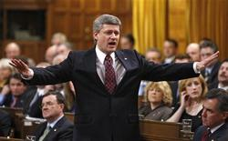 <p>Canada's Prime Minister Stephen Harper speaks during Question Period in the House of Commons on Parliament Hill in Ottawa December 3, 2008. REUTERS/Chris Wattie</p>