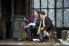 <p>Quinn Kelsey (L) as Marcello and Piotr Beczala as Rodolfo appear in this undated handout image during a performance of La Boheme by the San Francisco Opera. REUTERS/Terrence McCarthy/San Francisco Opera/Handout</p>