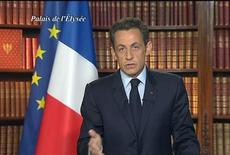 <p>Il presidente francese Nicolas Sarkozy, foto d'archivio. REUTERS/FRANCE2 TV (FRANCE). FOR EDITORIAL USE ONLY. NOT FOR SALE FOR MARKETING OR ADVERTISING CAMPAIGNS.</p>