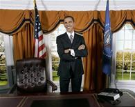 <p>A lifelike wax figure of Senator Barack Obama (D-IL) is on display in an oval office-like setting at Madame Tussauds after being unveiled in Washington February 11, 2008. REUTERS/Molly Riley</p>