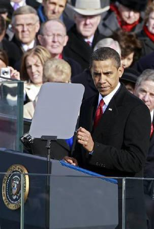 U.S. President Barack Obama gives his inaugural address during his inauguration as the 44th President of the United States  on the West Front of the Capitol in Washington, January 20, 2009. REUTERS/Mark Wilson/Pool