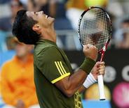 <p>Tenista espanhol Fernando Verdasco comemora vitória sobre o britâncio Andy Murray, no Aberto da Austrália, em Melbourne. REUTERS/Darren Whiteside (AUSTRALIA)</p>