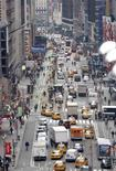 <p>A view of Broadway through New York City's Times Square, one of the two areas where New York City officials plan to ban cars in a bid to speed up traffic February 26, 2009. New York City Mayor Michael Bloomberg said the plan would be a boon for local business. REUTERS/Mike Segar</p>