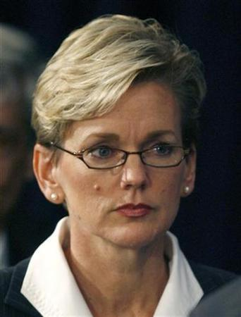 Economic advisor Jennifer Granholm, Governor of Michigan, attends a news conference by then President-elect Barack Obama in Chicago, November 7, 2008. REUTERS/John Gress