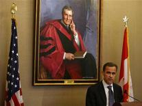 <p>Mark Carney, Governor of the Bank of Canada, speaks during a luncheon for the New York Association for Business Economics at the Harvard Club in New York May 22, 2008. REUTERS/Shannon Stapleton</p>