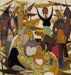 <p>La obra 'Fishing Harvest' del artista chino Lin Fengmian que fue vendido por 2,1 millones de dólares en Sotheby's en Hong Kong, 6 abr 2009. Un puñado de artistas chinos batieron el lunes varios récords de subasta en el remate de primavera de Sotheby's en Hong Kong, ante una fuerte demanda para ciertas categorías de arte chino pese a la crisis económica. REUTERS/Sotheby's/Handout</p>