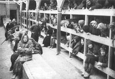 <p>Архивная фотография выживших узников концлагеря Аушвиц (Освенцим) в Освенциме, Польша, сделанная в январе 1995 года. Список спасенных евреев от нацистских концлагерей во время Второй мировой войны немецким промышленником Оскаром Шиндлером был обнаружен в Государственной библиотеке Нового Южного Уэльса в Сиднее и выставлен на всеобщее обозрение во вторник. REUTERS/Handout</p>