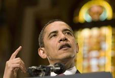 <p>President Barack Obama speaks about the economy at Gaston Hall at Georgetown University in Washington April 14, 2009. REUTERS/Larry Downing</p>