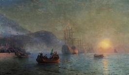 """<p>""""Columbus sailing from Palos,"""" by Ivan Aivazovsky, an oil on canvas dated 1892, is shown in this undated handout photo. REUTERS/Sotheby's/Handout</p>"""