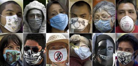 4月30日、新型インフルエンザの感染が世界的に広がる中、自分でデザインを施すなどして「マスクのおしゃれ」を楽しむ人も出てきた。写真はメキシコ市の人々(2009年 ロイター/Staff)