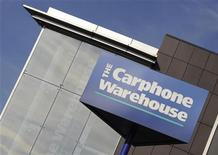 <p>Il logo di Carphone Warehouse sulla sede dell'azienda a Londra REUTERS/Toby Melville</p>