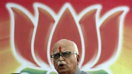 Bharatiya Janata Party (BJP) leader L.K. Advani addresses his supporters before filing his nomination in Gandhinagar, 35 km north of Ahmedabad, April 8, 2009. REUTERS/Amit Dave