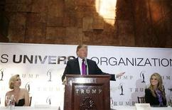 <p>Miss California USA Carrie Prejean (R) and Shanna Moakler, co-executive director of the Miss California USA pageant (L), listen to Donald Trump, the owner of the Miss Universe Organization, announce during a news conference that Prejean would retain her title in New York May 12, 2009. REUTERS/Lucas Jackson</p>