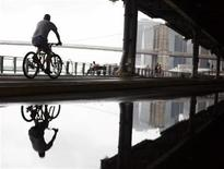 <p>A man rides his bike under the FDR East River Drive in New York July 24, 2008. REUTERS/Shannon Stapleton</p>
