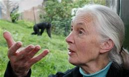 <p>Conservationist and primatologist Jane Goodall poses for photographers in front of the chimpanzee enclosure at Sydney's Taronga Zoo October 11, 2008. REUTERS/Tim Wimborne</p>