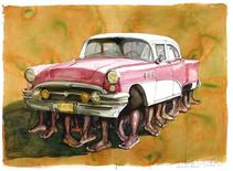 "<p>An undated handout photo shows ""La Patera"" (The Raft) a 2002 pastel on paper depicts the body of a 1950s U.S. sedan supported by a profusion of black male legs. The Cuban art market is showing signs of vitality as the economic recession weakens demand for works from elsewhere in Latin America, collectors said. A Cuban painting was the top seller in May's Latin American art auctions in New York. American collectors of Asian art are now snapping up Cuban contemporary works and Cuban art galleries are also springing up. REUTERS/HO-The Farber Collection</p>"