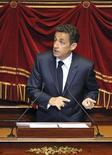 """<p>S'exprimant devant les parlementaires réunis en Congrès à Versailles, Nicolas Sarkozy a promis lundi d'aller """"jusqu'au bout"""" dans la lutte contre le téléchargement illégal sur internet après la censure partielle de la loi Hadopi par le Conseil constitutionnel. /Photo prise le 22 juin 2009/REUTERS/Eric Feferberg/Pool</p>"""