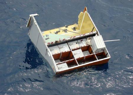 Debris from Air France flight AF447 float on the Atlantic Ocean, some 745 miles (1,200 km) northeast of Recife, in this Navy handout released on June 17, 2009. REUTERS/Brazilian Navy/Handout