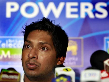 Sri Lanka's cricket team captain Kumar Sangakkara speaks to reporters at Colombo international airport, after returning from the Twenty20 World Cup in England June 24, 2009. REUTERS/Stringer/Files