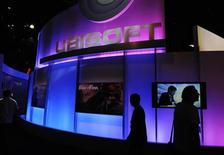 <p>Visitors walk past the Ubisoft booth at the E3 Electronic Entertainment Expo in Los Angeles June 2, 2009. REUTERS/Phil McCarten</p>