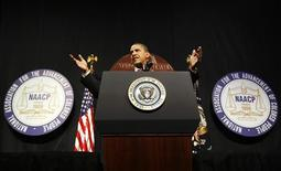 <p>President Barack Obama speaks at the National Association for the Advancement of Colored People's (NAACP) 100th anniversary convention in New York City July 16, 2009. REUTERS/Kevin Lamarque</p>