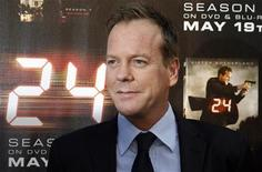 "<p>Cast member of ""24"" Keifer Sutherland poses at a screening of the season finale of Fox television drama series ""24"" season seven in Los Angeles, California May 12, 2009. REUTERS/Fred Prouser</p>"