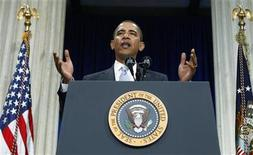 <p>President Barack Obama speaks about the financial crisis on Wall Street at Federal Hall in New York City, September 14, 2009. REUTERS/Larry Downing</p>