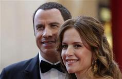 <p>Actress Kelly Preston and her husband John Travolta (L) arrive at the 80th annual Academy Awards, the Oscars, in Hollywood, February 24, 2008. REUTERS/Carlos Barria</p>