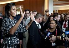 <p>A primeira-dama dos EUA Michelle Obama defende a candidatura de Chicago à Olimpíada de 2016 em Copenhage REUTERS/Scanpix/Nils Meilvang</p>