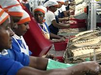 <p>Workers process tuna at the Thon des Mascareignes factory in Mauritius' capital Port Louis February 2, 2007. REUTERS/Ed Harris</p>